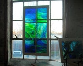 stained glass panel, caribbean sea glass, 6 pane