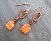 Autumn Sunset - Orange Red Czech Glass, Crystal, Copper Earrings