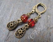 Ruby Red Glass and Brass Vintage Look Earrings