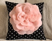Pink Rose On Black and White Polka Dot Pillow
