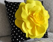 Bright Yellow Rose on Black with White Polka Dot Pillow