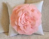 Baby Nursery Decor Light Pink Rose on White Pillow 14 X 14