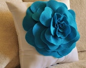 Decorative Pillow  Turquoise Rose on White Pillow 14x14