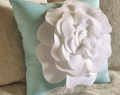 Flower Pillow -White Rose on Aqua Pillow