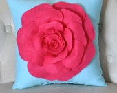 Hot Pink Rose on Robins Egg Blue Pillow