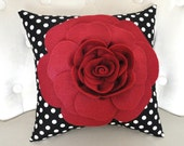 Ruby Red Rose Pillow on Black with White Polka Dot Pillow