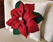 Holiday Decor Christmas Pillow Cranberry Poinsettia Pillow 12 x 12 Christmas Holiday Decor Decorative Pillow