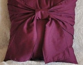 Accent Pillow- Plum Big Bow Pillow 14x14 - Decorative Pillow - Throw Pillow