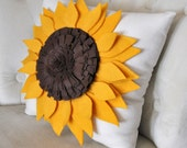 "Sunflower Pillow Sunflower on Cream Pillow 14"" x 14"""