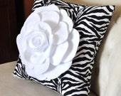 Zebra Pillow with White Rose 14x14