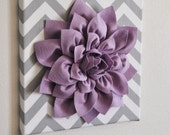 "Wall Flower -Lilac Dahlia on Gray and White Chevron 12 x12"" Canvas Wall Art- Baby Nursery Wall Decor-"