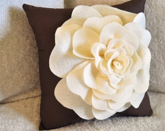 Cream and Brown Decorative Pillow Rose Pillow 14 x14