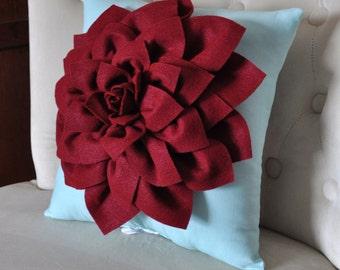 Dahlia Felt Flower Decorative Pillow -Ruby Red on Aqua Pick your Colors- Mum Flower Pillow