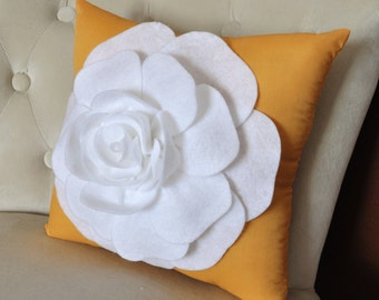 Rose Pillow -White Rose on Mustard Yellow Pillow-