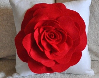 Red Pillows Red Rose on White Pillow 14x14
