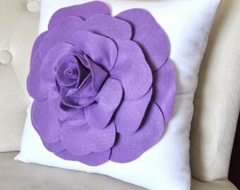 Lavender Rose on White Pillow