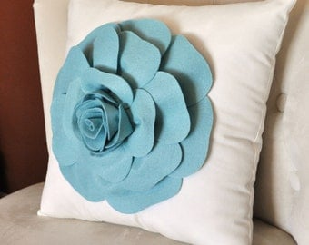 Rose Applique Dusty Blue Rose on Cream Pillow 16x16