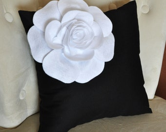 Decorative White Corner Rose on Black Pillow 14 X 14 Black and White Flower Pillow - Decorative Pillow  - Throw Pillow