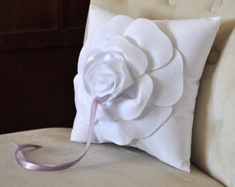 Ring Bearer Pillow - White Wedding Rose Ring Pillow You pick your colors-