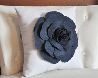 Decorative Throw Pillow, Home Decor, Cushion One 14 x 14 Inches - Navy Blue Rose on Light Gray Pillow