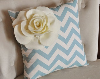 Ivory Corner Rose on Blue and Natural Zigzag Pillow 14 X 14 -Chevron Flower Pillow- Zig Zag Pillows
