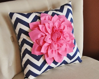 Pillows - Pink Dahlia on Navy and White Zigzag Pillow Chevron Pillow -