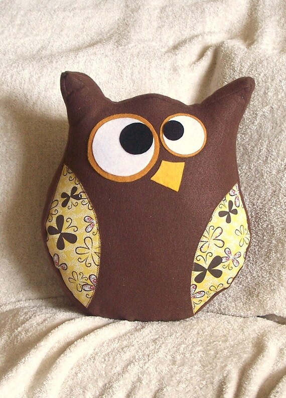 Hooter the Owl Pillow Yellow and Brown Designer