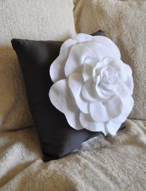 Rose Pillow White on Charcoal Grey 12 X 12