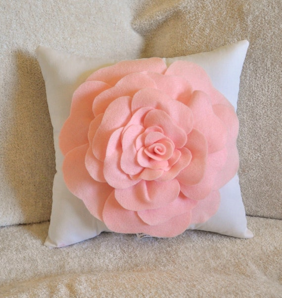 Baby Nursery Decor Light Pink Rose on White Pillow 14 X 14