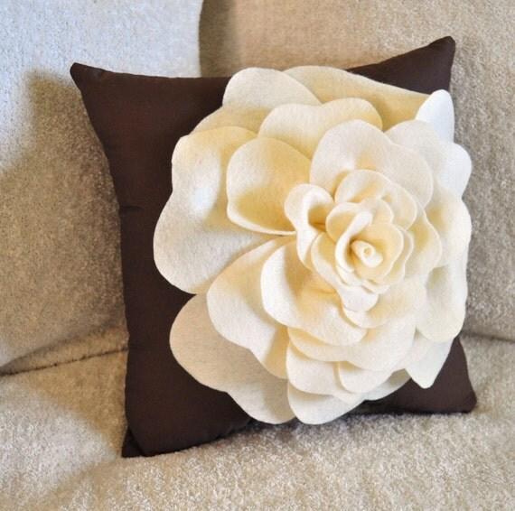Cream and Brown Decorative Pillow Rose Pillow 14 x14