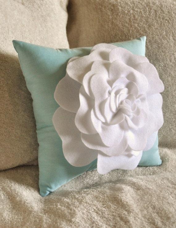 Flower Pillow -White Rose on Aqua Pillow