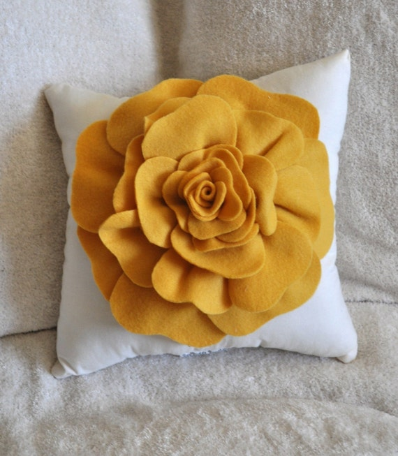 Mustard Yellow Rose on Cream Pillow 14x14