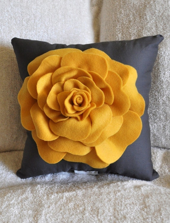 Rose Pillow Mustard Yellow on Grey 18 X 18