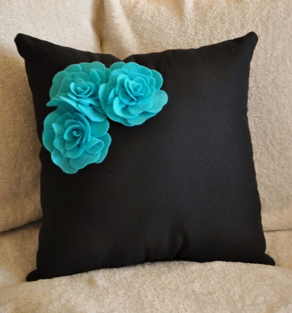 Decorative Pillow Turquoise Felt Rose Trio On Black Pillow