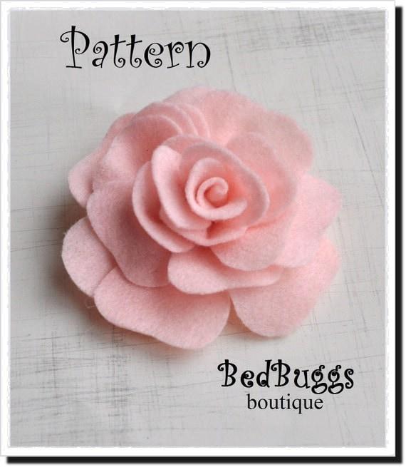 Felt Rose Brooch PDF Pattern Tutorial How To Rose Pillow Hair clip headband