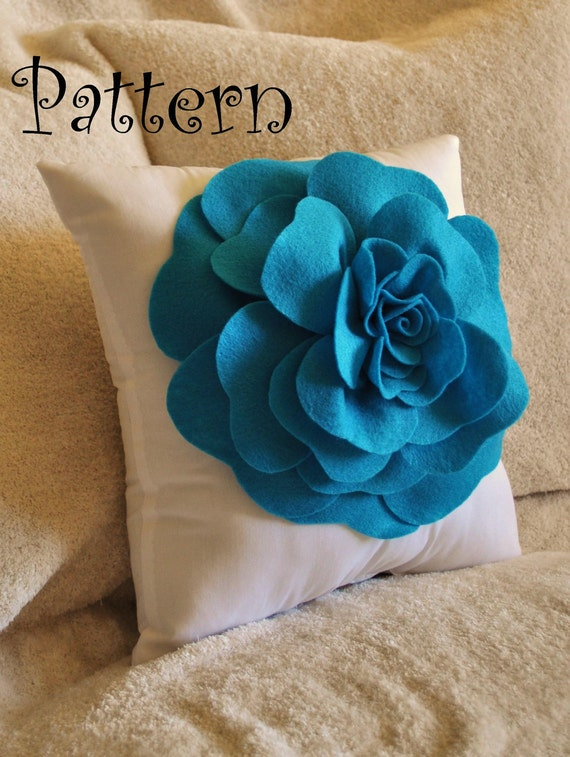 Flower Pattern Large Felt Rose with BONUS Pillow PDF Pattern Tutorial Flower Pillow Accent Pillow