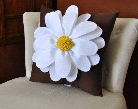 Daisy Flower on Brown Pillow -NEW BEDBUGGS DESIGN -Pick your Colors-