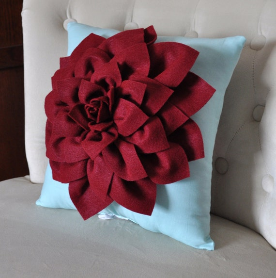 "Shabby Chic - Dahlia Felt Flower Decorative Pillow  -Ruby Red on Aqua - 14"" x 14"" -Poinsettia -Pick your Colors- Mum Flower Pillow"