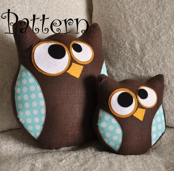 Owl Pillow Pattern Set -Hooter the Owl PDF Tutorial and BONUS Lil Hoot Printable Pattern