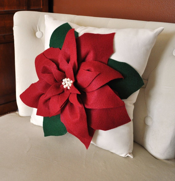 Pillow Throw Decor Etsy : Items similar to Holiday Decor Christmas Pillow Cranberry Poinsettia Pillow Christmas Holiday ...