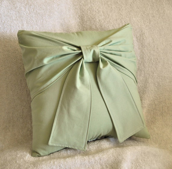 "Sage Green Bow Pillow 14"" x 14"" Accent Pillow"