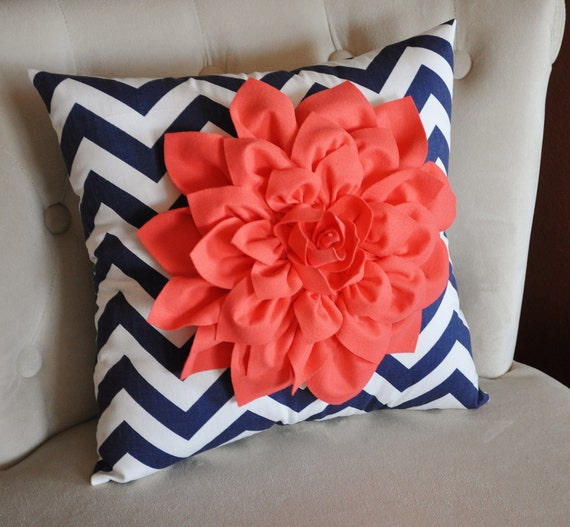Coral Dahlia on Navy and White Zigzag Pillow -Chevron Pillow-
