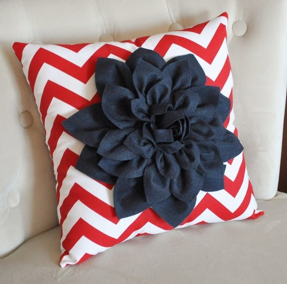 Navy Blue Dahlia on Red and White Zigzag Pillow -Chevron Pillow-  Red White and Blue 16x16