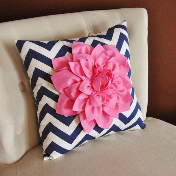 Pillows - Pink Dahlia on Navy and White Zigzag Pillow Chevron Pillow -