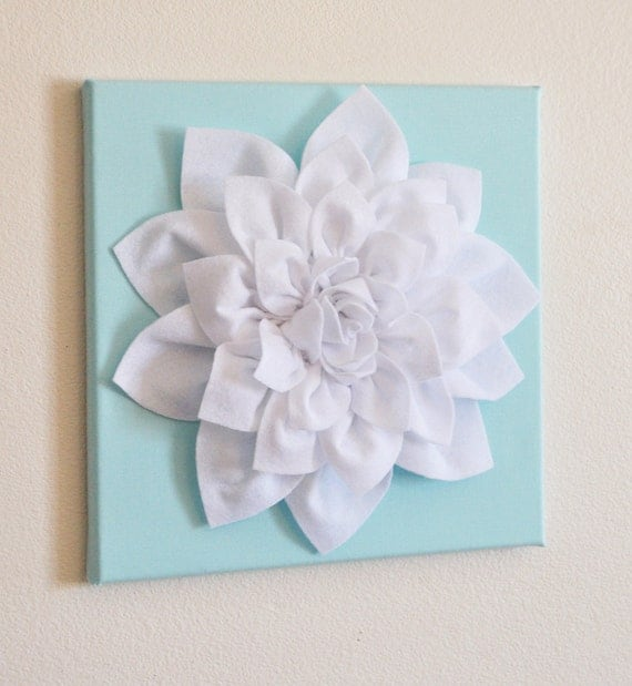 Wall Art Flowers Pictures : Wall flower white dahlia on aqua canvas