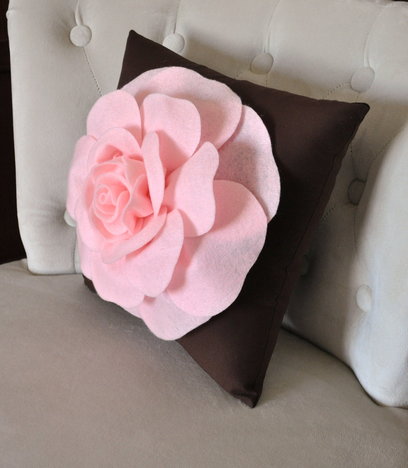 Pink Rose on Brown Pillow 14x14 Throw Pillow