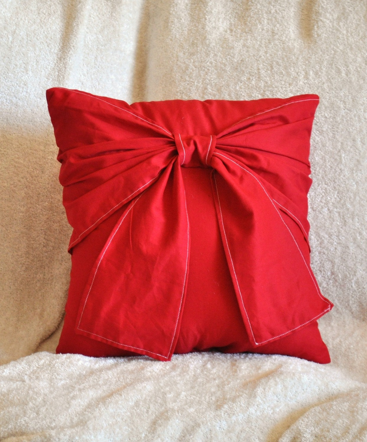 Throw Pillow With Bow : Red Decorative Pillow Big Bow Pillow 14x14 Choose Your Color