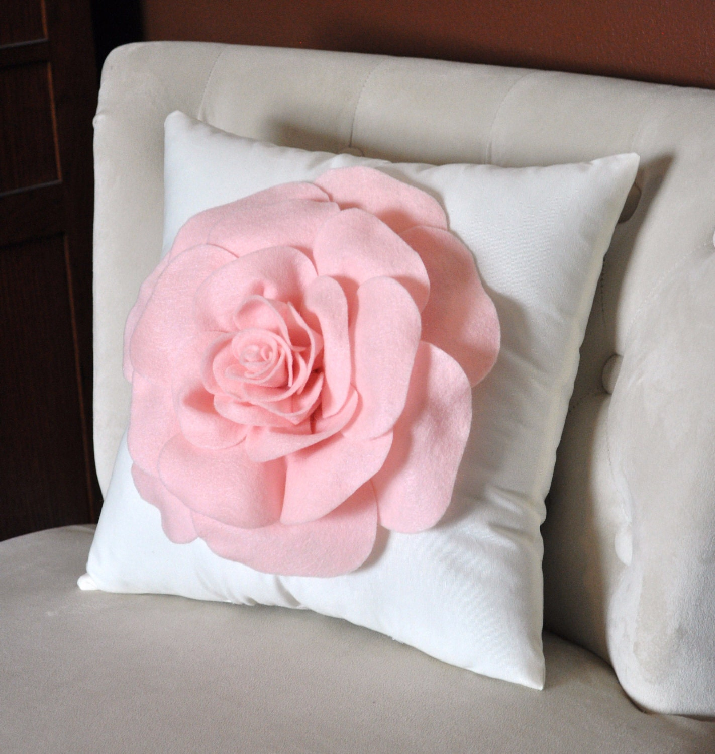 Decorative Pillows Rose Applique Pillow Light Pink on by bedbuggs
