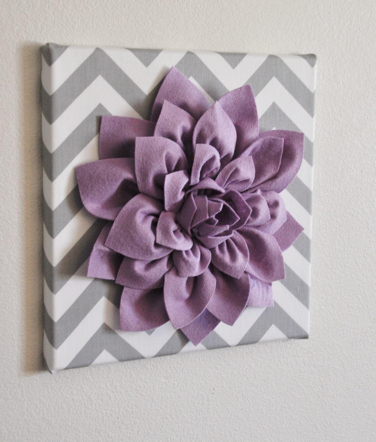 Wall Flower Lilac Dahlia on Gray and White Chevron 12 by bedbuggs