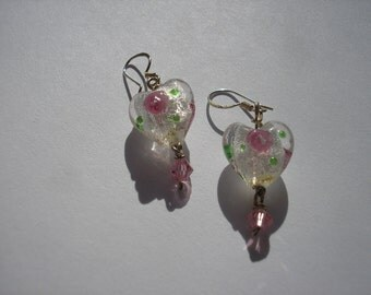 Hearts with Roses Valentine Earrings